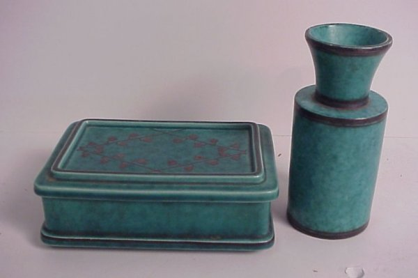 244: 2 pc Swedish Gustavsberg Argenta pottery includes