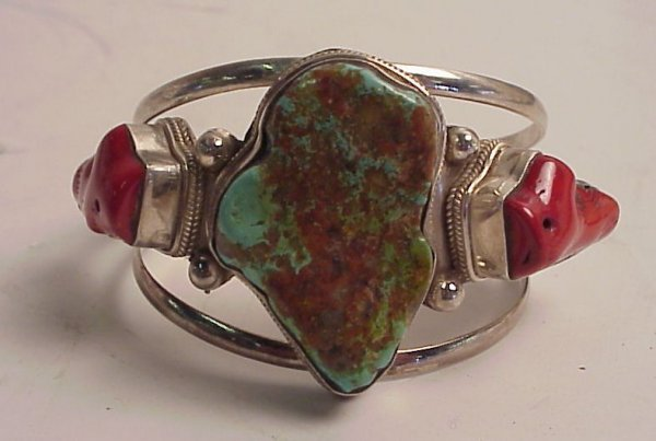 15: Sterling cuff bracelet with turquoise and coral  st