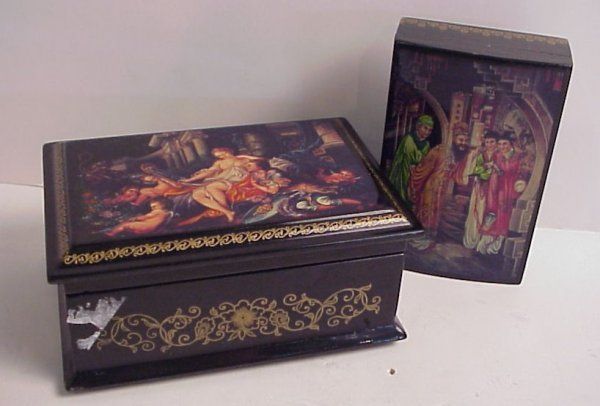 25: Two Russian lacquer  boxes one with scene of  lover