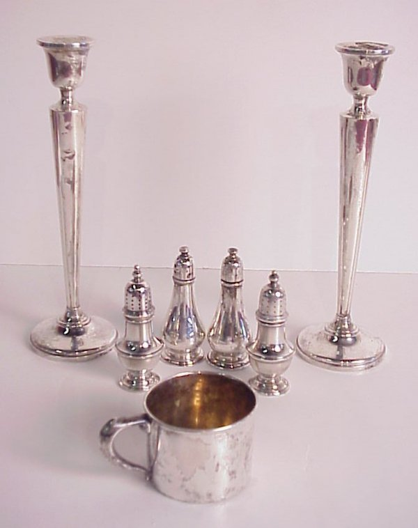 26: Sterling silver lot includes pr candle sticks, 2  p