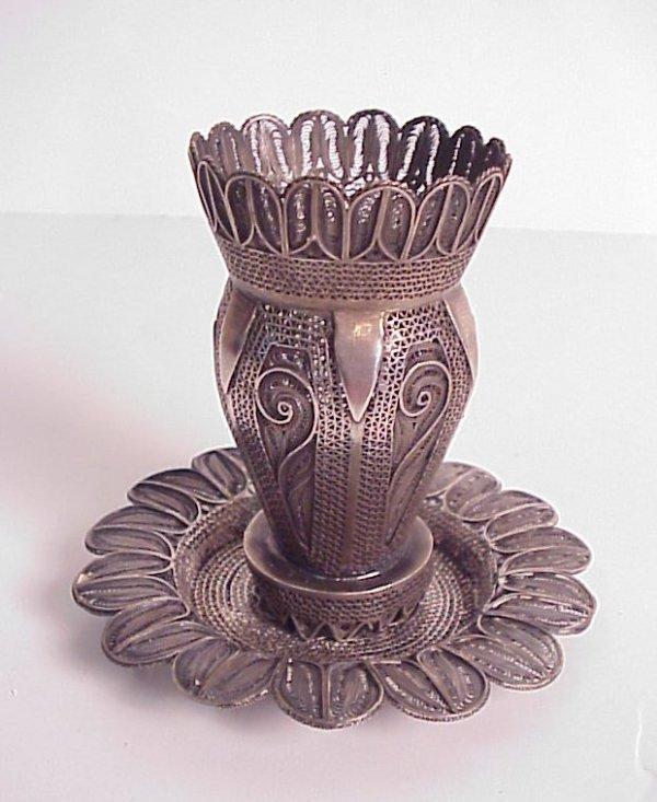 "121: Silver filigree Bezalel kiddush cup (3 7/8""h) and"
