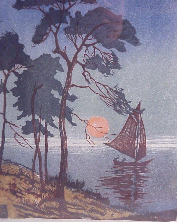 12: Arts and Crafts era signed landscape woodblock  pri