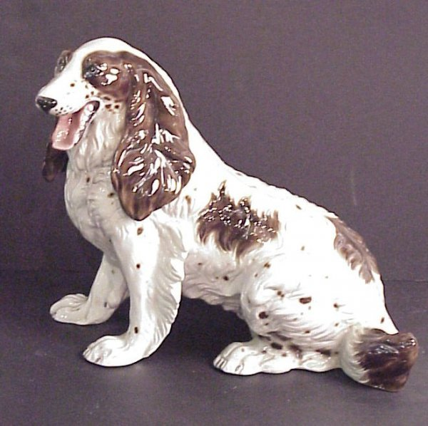 """18: Majolica dog figure, 13""""h x 15""""w, made in Italy"""