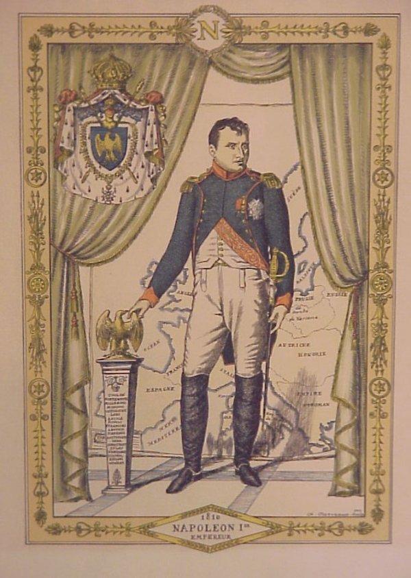 "19: Napoleon colored print 18 1/2"" x 13 1/4"" framed,  F"