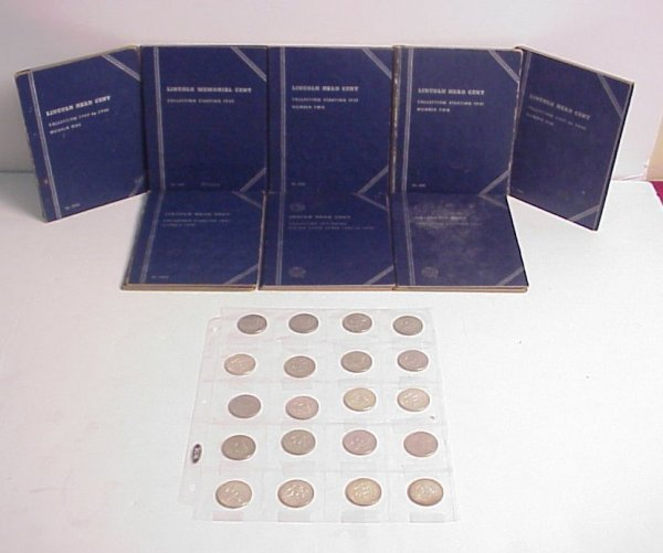 8: Coin collection of 2 penny books, Kennedy half  doll