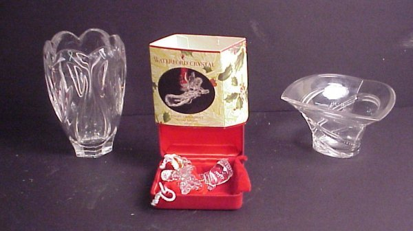 """9: 3 pc Waterford lot includes 2 vases (6 1/2""""h and 3"""