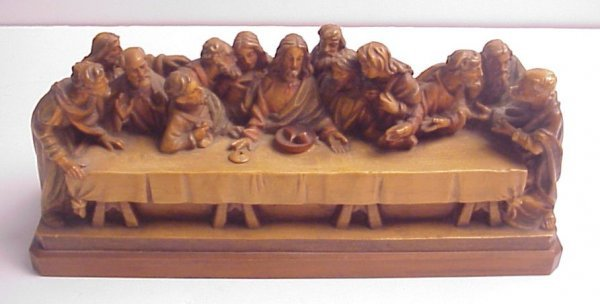 """13: Wood carving of The Last Supper, 4 1/2""""h, 10 1/4""""w"""