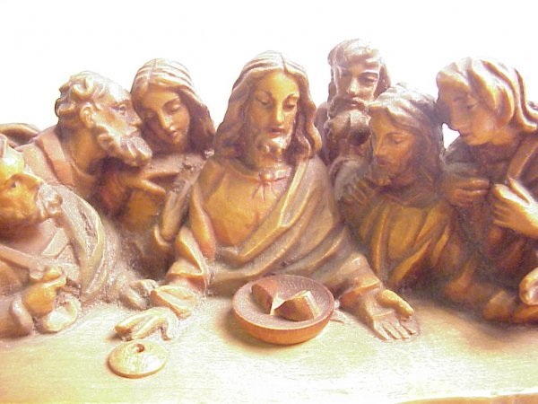 """13: Wood carving of The Last Supper, 4 1/2""""h, 10 1/4""""w - 2"""