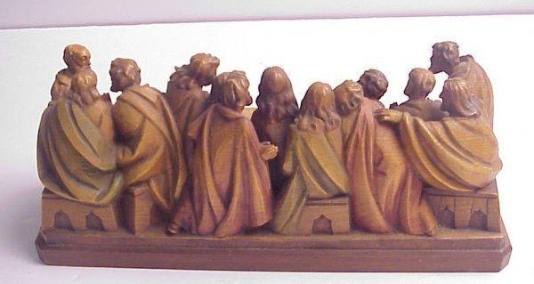 """13: Wood carving of The Last Supper, 4 1/2""""h, 10 1/4""""w - 3"""