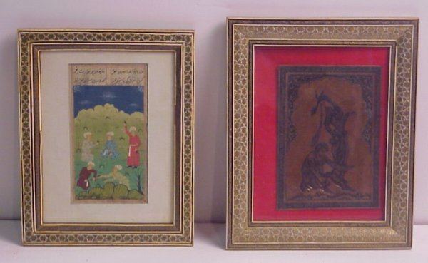 7: 2 Persian miniatures - one figures in a garden,  wat
