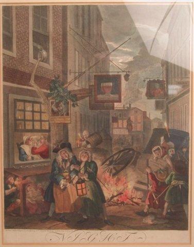 "38: William Hogarth 18th Century Colored engraving  ""Ni"