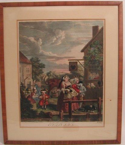 "39: William Hogarth 18th Century Colored engraving  ""Ev"