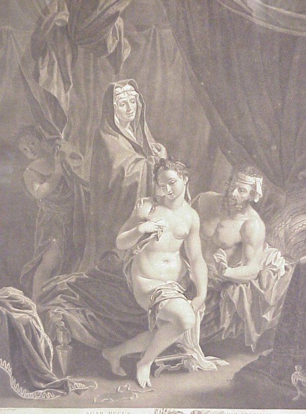 """6: 18thc French biblical engraving, 22"""" x 16"""", matted"""