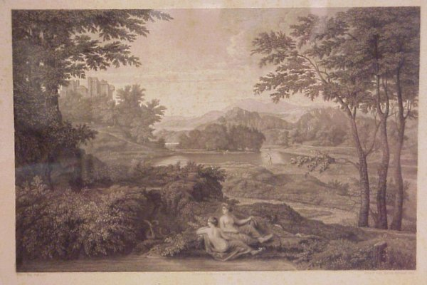 2: 19thc French Poussin landscape with allegorical  fig