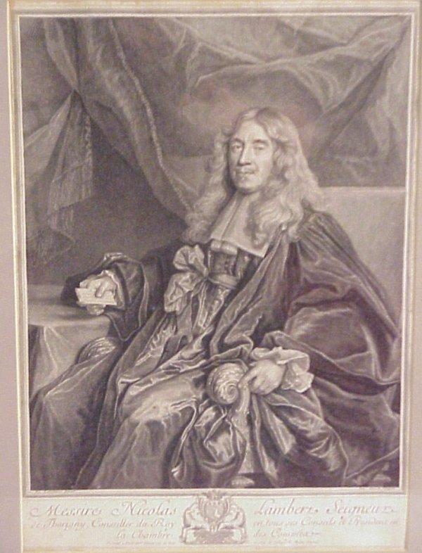 8: 18thc French engraving portrait of Nicolas  Lambert,