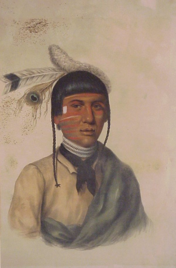 """12: 19thc Chippewa Chief colored engraving, 15"""" x 9"""","""