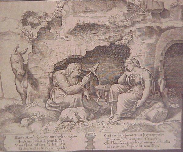 "16: 18thc Italian engraving, religious scene,  7 1/2"""