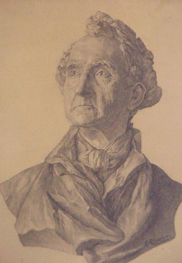 18: Signed K. Ringler, 19thc portrait bust of a man,  p