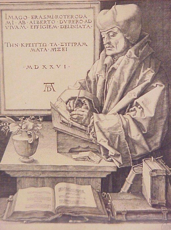 22: Albrecht Durer Portrait of Erasmus of Rotterdam,  e