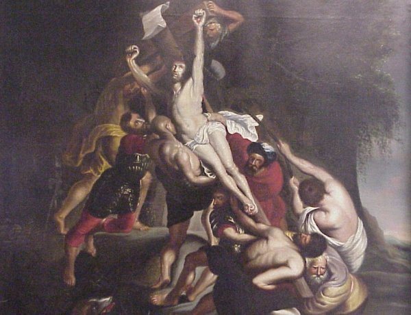33: 18/19th C Old Master Crucifixion scene, oil on  can