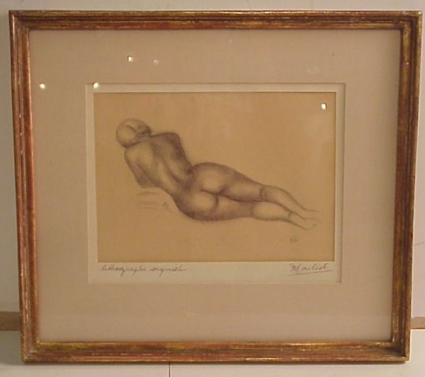 """24: Maillol reclining nude, lithograph, 6 3/4"""" x 9  1/2"""