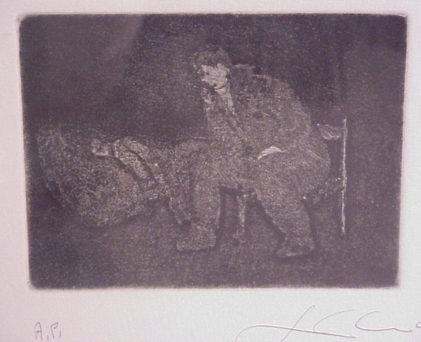 15: Sandro Chia (1946-Italy) Two figures, black and  wh