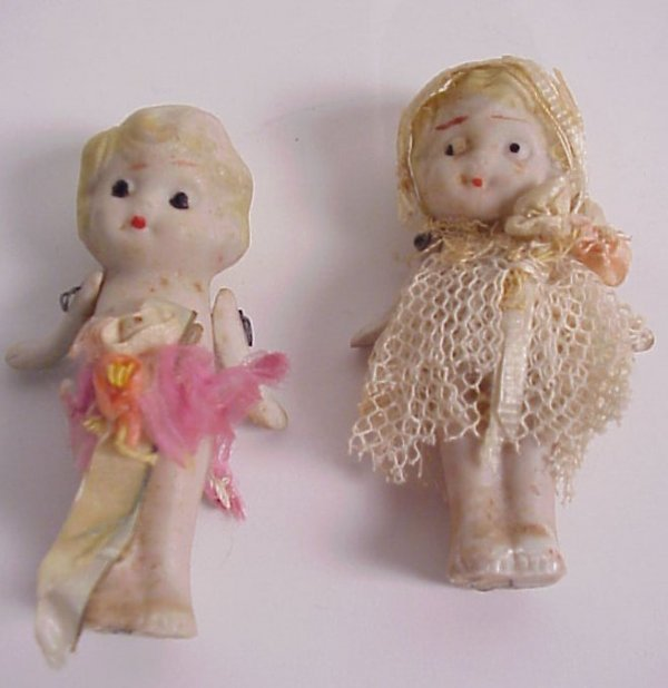 """2: 2 bisque doll figurines, marked Japan, 2 7/8""""h"""