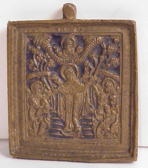 """18: 19th C bronze Russian Icon, 2 1/2"""" x 2"""""""