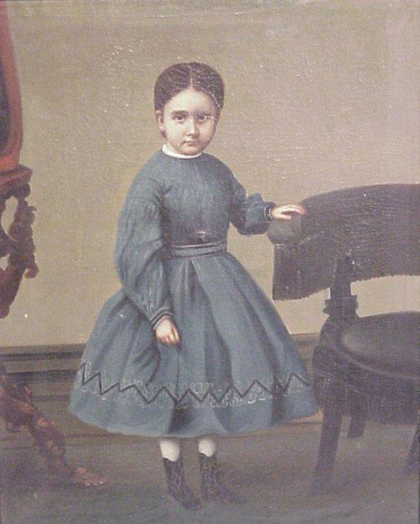 40: China Trade portrait of girl, Civil War era, oil  o