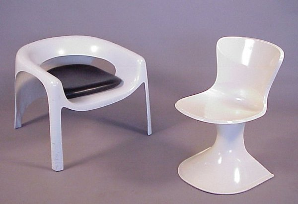 5: Lot of Two Mod Chairs ,circa late 60's - early  70's