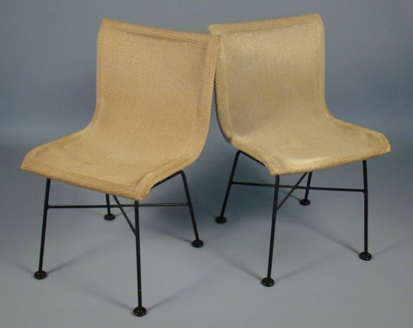 """10: 1950s pair of iron and rope chairs, 27 1/2""""h, 18  1"""