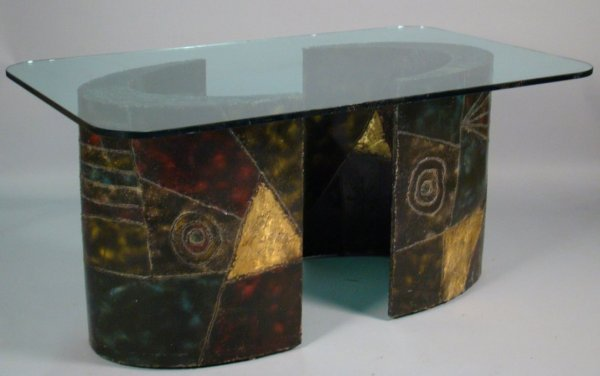 125: Paul Evans dining table, glass top, patinated  ste