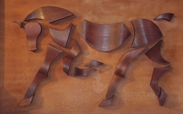1: 1950s wood wall sculpture of a stylized horse,  unsi