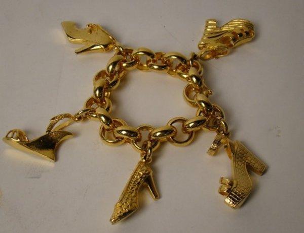 """17: Ferragamo shoe charm bracelet, charms 1 1/2"""",  circ"""