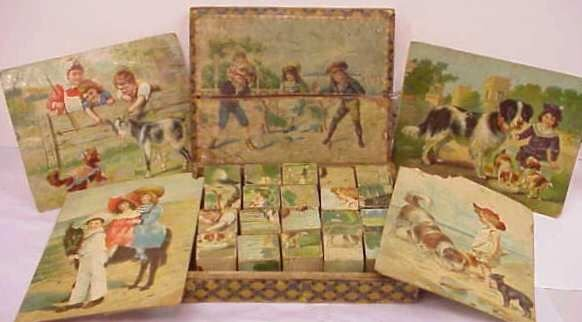 2: VINTAGE CHILD'S BLOCKS, TRANSFER PRINT PICTURES DEPI