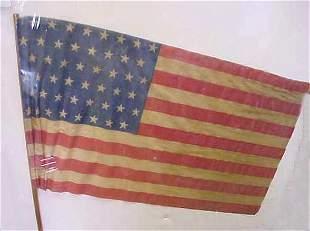"48 STAR PRINTED AMERICAN FLAG, 22 1/2"" X 13"", ON WOO"