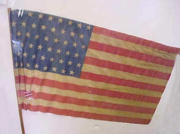 "3: 48 STAR PRINTED AMERICAN FLAG, 22 1/2"" X 13"", ON WOO"