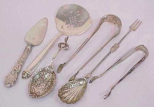 4: 5 STERLING & SILVER SERVING PIECES, INCLUDES: 2 TONG