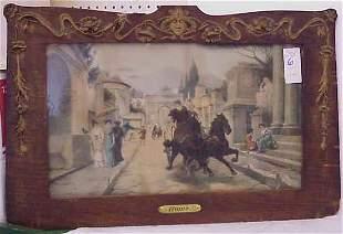 ROME HAND COLORED PRINT, ART NOUVEAU FRAME (SOME LOS