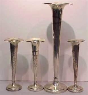 """3 STERLING SILVER BUD VASES (7""""H) & 1 TRUMPET VASE"""