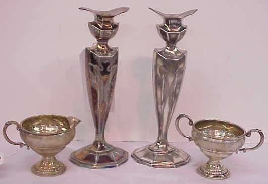 17: STERLING SILVER SUGAR AND CREAMER AND PAIR OF ART N