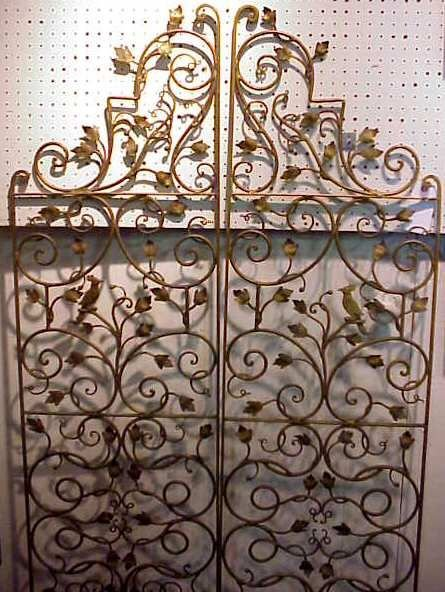 "20: PR IRON GATES, GILDED WITH LEAF & BIRD MOTIF, 67""H"