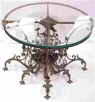 SMALL BRONZE OCCASIONAL TABLE, FLORAL MOTIF, GLASS
