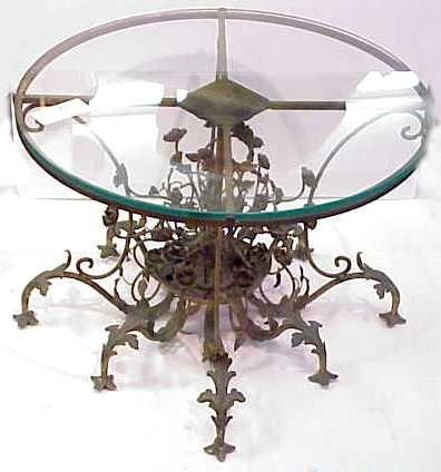 25: SMALL BRONZE OCCASIONAL TABLE, FLORAL MOTIF, GLASS