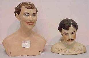 2 MAGGE HEAD PORCELAIN DOLL HEADS, 1955 & 57, BOTH