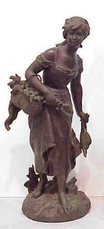 TURN OF THE CENTURY METAL STATUE, GIRL WITH BASKET