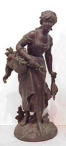 27: TURN OF THE CENTURY METAL STATUE, GIRL WITH BASKET