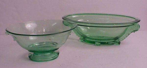 6: 2 green glass oval center bowls, one Imperial 10  1/