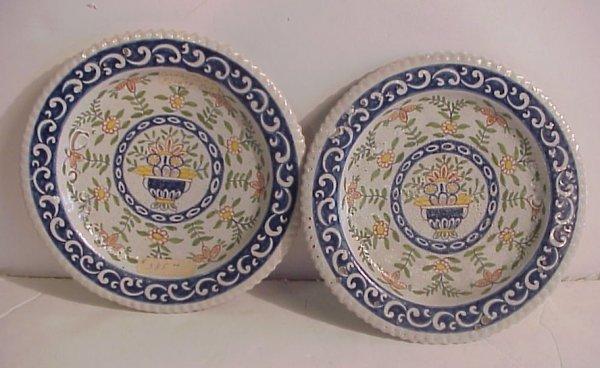 "16: 2 antique majolica plates 8"", crazed on bottom,  gl"