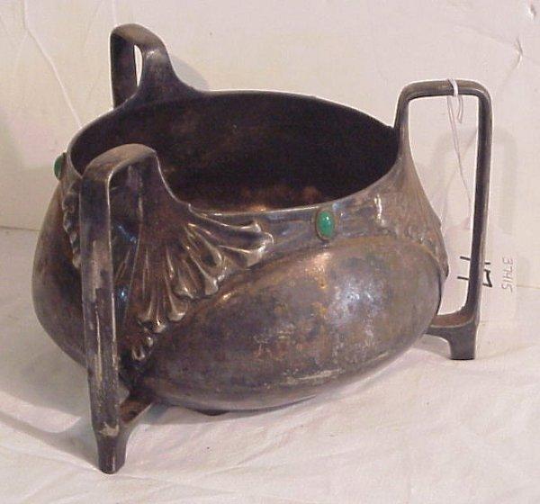 17: Art Nouveau silverplate jeweled 3 handled bowl,  ma